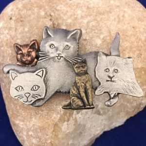 Tricolor Metal Cat Brooch